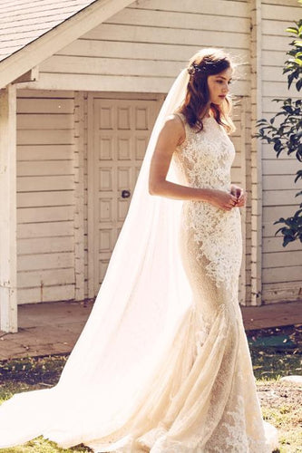Champagne Jewel Neck Lace Mermaid Bridal Dress With Court Train