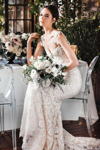 Champagne Strap Lace Mermaid Bridal Dress With Chain Back Detail