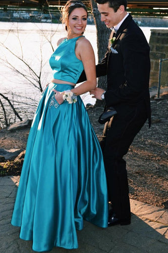 Charmeuse Round Neck Two-Piece A-Line Floor-Length Prom Dress