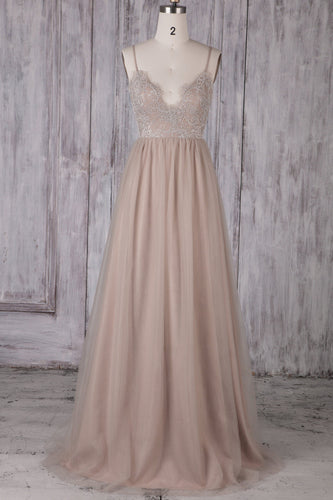 Spaghetti Strap V-Neck Tulle Long Bridesmaid Dress With Illusion Lace Bodice