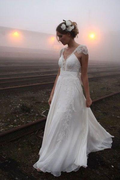 Applique Lace Scalloped Edge Neck Cap Sleeves Floor-Length Solid Sheath Chiffon Wedding Dress