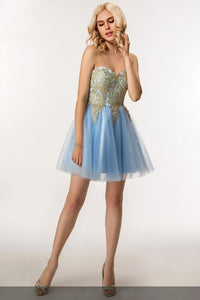 Chic Applique Sweetheart Sleeveless Lace-Up Short Tulle Princess Cocktail Dress