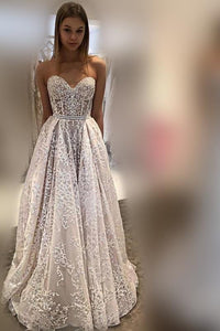 Elegant Applique Sweetheart Sleeveless Long Princess Organza Wedding Dress
