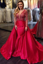 Beading Lace Illusion Scalloped Edge Neck Long Sleeves Evening Dress with Overskirt