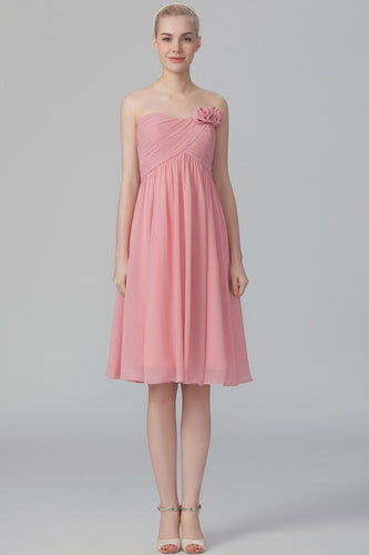 Strapless Sleeveless Knee-Length Solid Chiffon Bridesmaid Dress With Handmade Flower