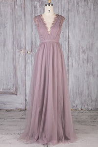 Tulle V-Neck A-Line Brush Train Bridesmaid Dress With Lace
