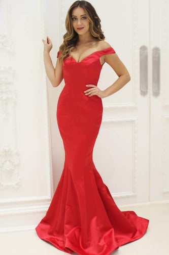 Elegant Off Shoulder Long Solid Red Mermaid Evening Dress with Sweep Train