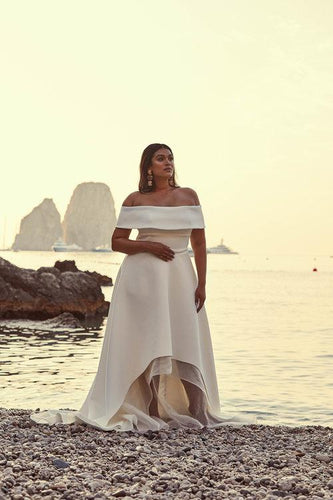 Elegant Off Shoulder Short Sleeves Plus Size High-Low Beach Wedding Dress