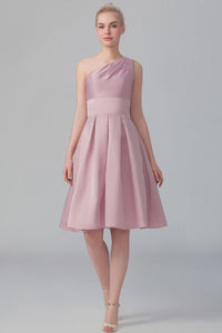 One-Shoulder Empire Waist Knee-Length Satin A-Line Bridesmaid Dress With Pleats