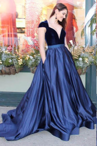 Elegant Plunge Neck Cap Sleeves Long Satin Evening Dress with Sweep Train