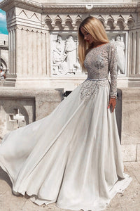 Rhinestone Lace Bateau Neck Long Sleeves Backless Long Prom Dress with Sweep Train