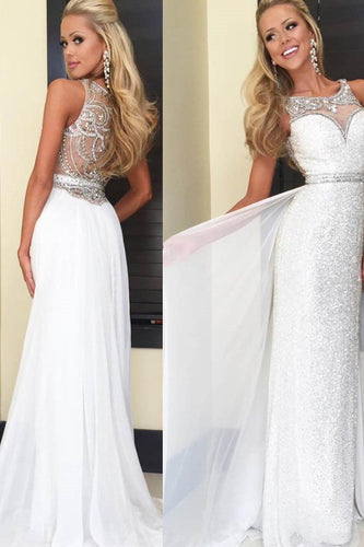 Rhinestone Illusion Scoop Neck Sleeveless Long Solid Sheath Evening Dress with Sweep Train
