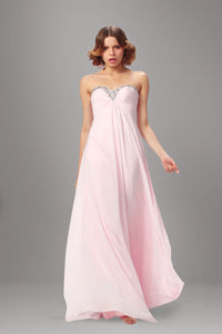 Rhinestone Sweetheart Sleeveless Empire Zipper-Up Long Solid Chiffon Evening Dress