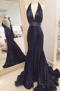 Sequin Halter Neck Sleeveless Backless Long Mermaid Evening Dress with Sweep Train