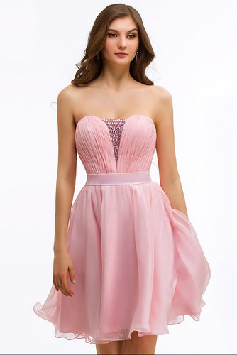 Chic Strapless Sleeveless Zipper-Up Short Solid Ruched Chiffon Cocktail Dress