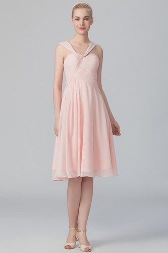 A-Line Strap Knee-Length Pink Chiffon Bridesmaid Dress With Ruching