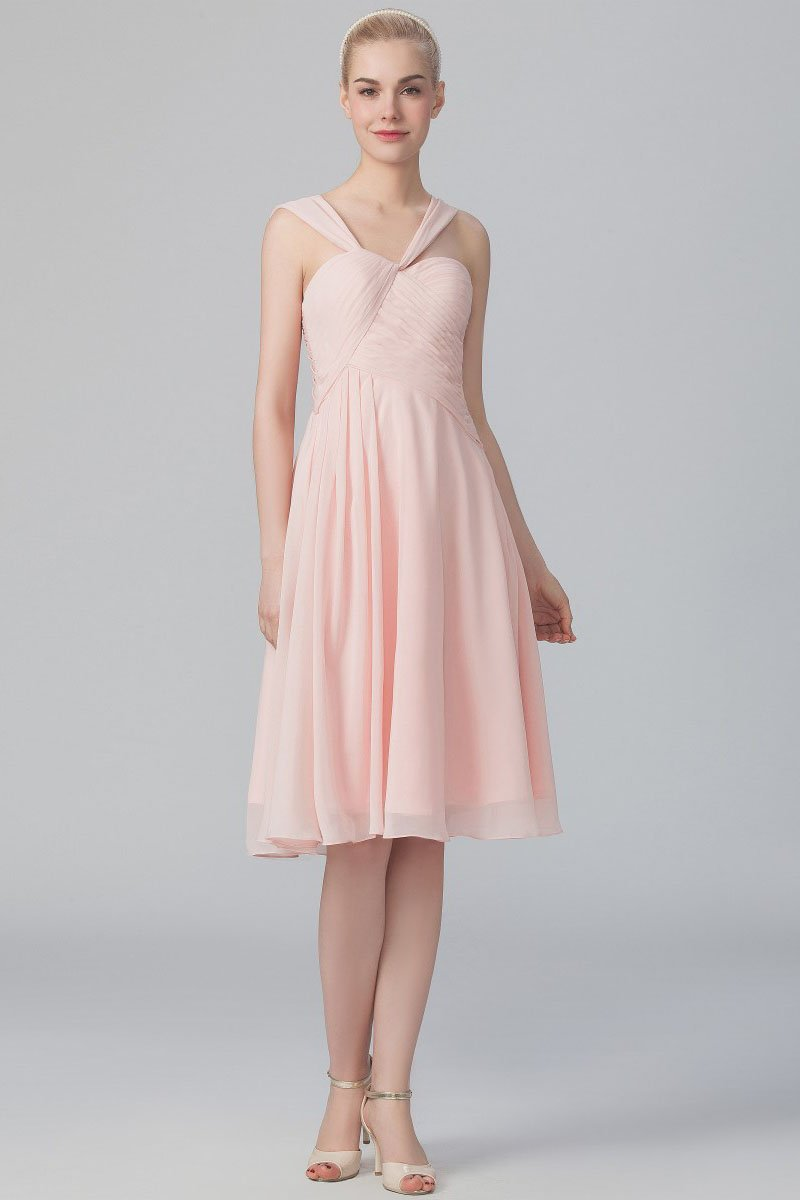bb9c8d23bb7d A-Line Strap Knee-Length Pink Chiffon Bridesmaid Dress With Ruching. Straps  Sleeveless ...
