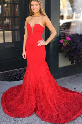 Sweetheart Sleeveless Zipper-Up Long Solid Mermaid Evening Dress with Sweep Train