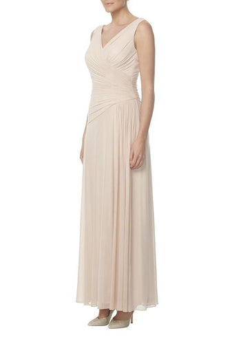 Graceful V-Neck Ankle-Length Chiffon Bridesmaid Dress With Ruching