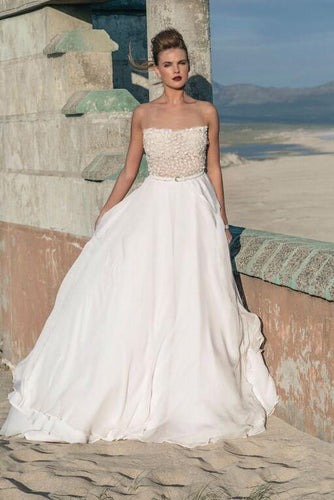 Chiffon Backless Strapless Court Train Layered Beach Wedding Dress With Illusion Lace Bodice