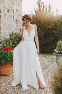 Chiffon Deep V-Neck Strap Sweep Train Wedding Dress With Lace