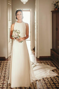 Chiffon Jewel Neck Court Train Bridal Dress With Belt