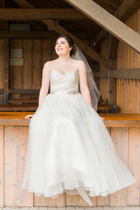 Chiffon Sweetheart Strapless Floor-Length Plus Size Wedding Dress With Sash
