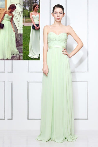 Chiffon Sweetheart Strapless Sweep Train Celebrity Dress With Ruched Bodice