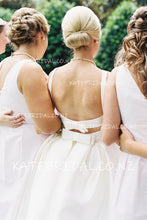 Chic Bow-knot Back Detail Bateau Neck Backless Floor-Length A-Line Satin Bridal Dress