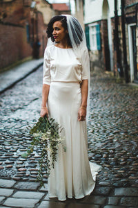 A-Line Jewel Neck 1/2 Sleeve Satin Sweep Train Wedding Dress