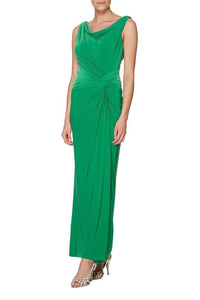 Cowl Neck Sleeveless Ankle-Length Ruched Sheath Jersey Green Bridesmaid Dress