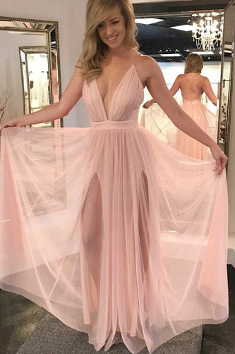 Criss Cross Back Spaghetti Strap Deep V-Neck Tulle Formal Dress With Slits