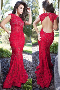 Graceful Crystal Bateau Neck Cap Sleeves Open Back Long Solid Mermaid Evening Dress