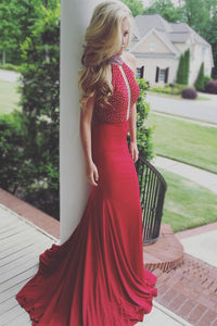 Crystal High Neck Sleeveless Long Solid Stretch Mermaid Evening Dress with Sweep Train