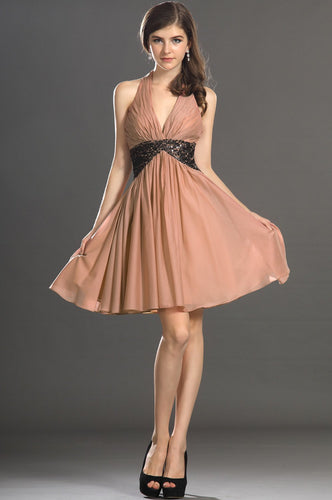 Elegant Sequin Halter Neck Sleeveless Backless Short Ruched Chiffon Cocktail Dress