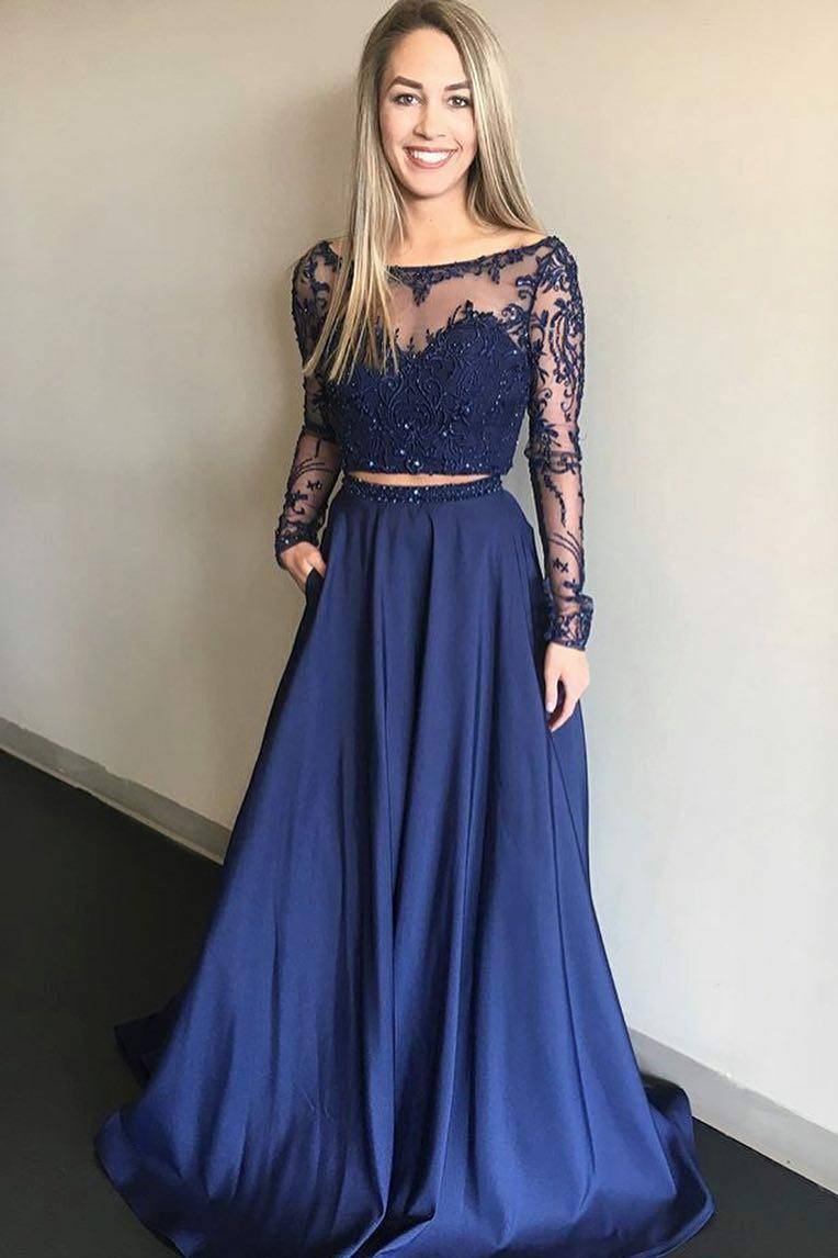 442ec1d0a3c46 Dark Navy Bateau Neck Long Sleeve Two-Piece Illusion Prom Dress With Beads
