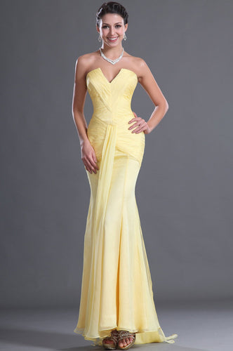 Notch Neck Strapless Sleeveless Long Solid Ruched Chiffon Evening Dress with Sweep Train