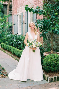 Deep V-Neck Empire Waist Ivory Satin Bridal Dress With Sweep Train