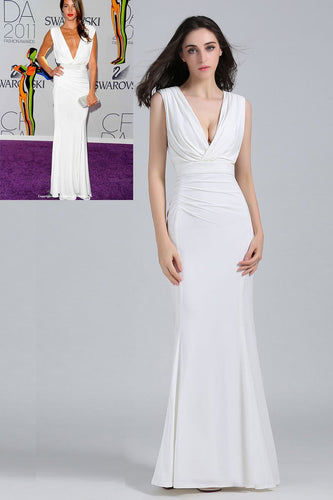 Deep V-Neck Floor-Length Sheath Celebrity Dress With Waistband