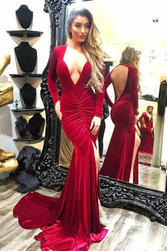 Deep V-Neck Long Sleeve Open Back Mermaid Formal Dress With Slit