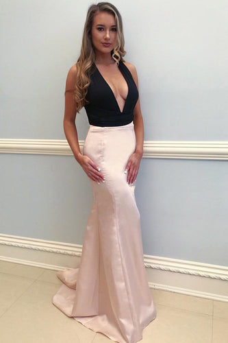 Deep V-Neck Satin Sweep Train Mermaid Prom Dress With Ribbon