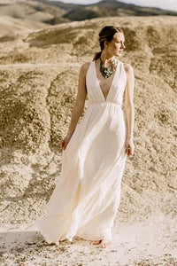 Elegant Deep V-Neck Sleeveless Floor-Length Solid Sheath Chiffon Wedding Dress