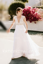 Illusion Lace Bodice A-Line V-Neck Floor-Length Tulle Wedding Dress