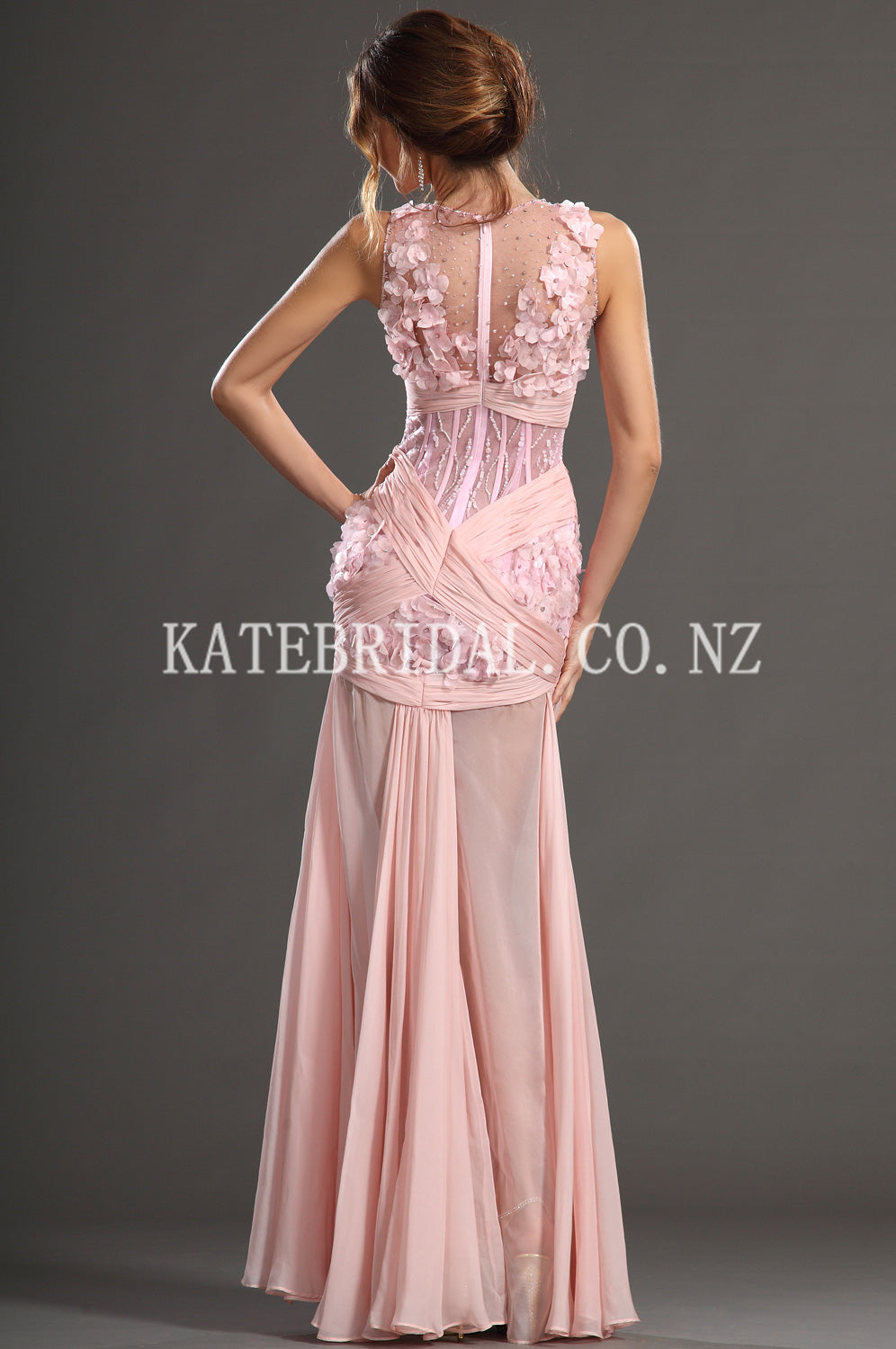 Beading Floral Illusion V-Neck Sleeveless Zipper-Up Floor-Length Chiffon Evening Dress