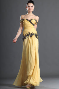 Appliqued Off-The-Shoulder Ankle-Length Solid Ruched Chiffon Evening Dress