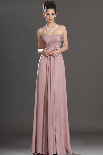 Elegant Sweetheart Sleeveless Floor-Length Solid Ruched Sheath Chiffon Evening Dress