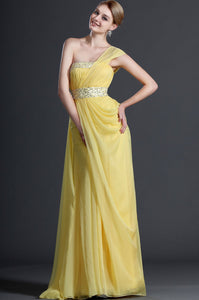 Elegant Beading Sequin One Shoulder Long Solid Ruched Chiffon Sheath Evening Dress