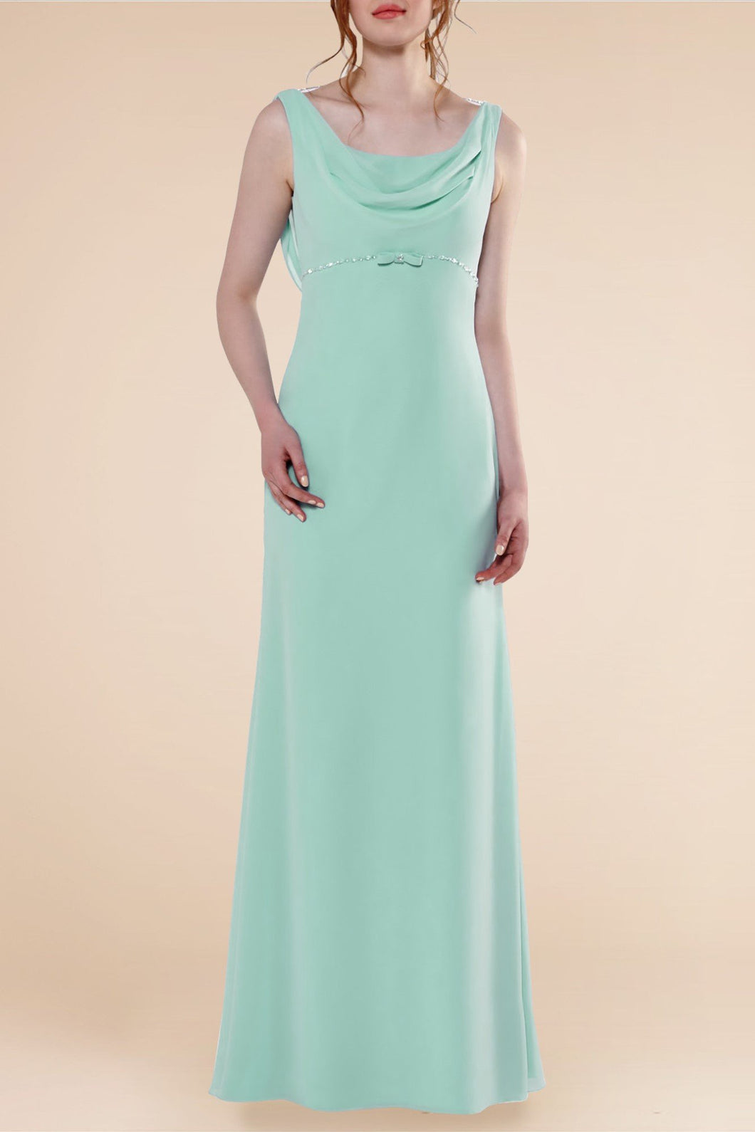 Sheath Cowl Neck Full-Length Bridesmaid Dress With Beads