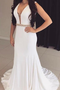 Elegant Beading Plunge Neck Sleeveless Backless Long Solid Mermaid Evening Dress