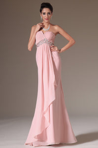 Chic Beading Strapless Sleeveless Zip-Up Floor-Length Solid Sheath Chiffon Evening Dress